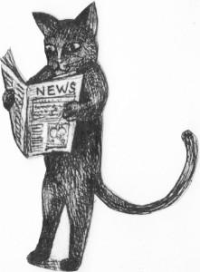 Black Kat reading newspaper