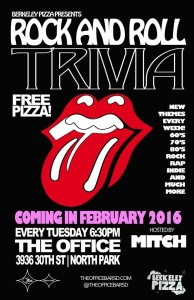 Rock & Roll Trivia Tuesdays at 6:30P The Office Bar