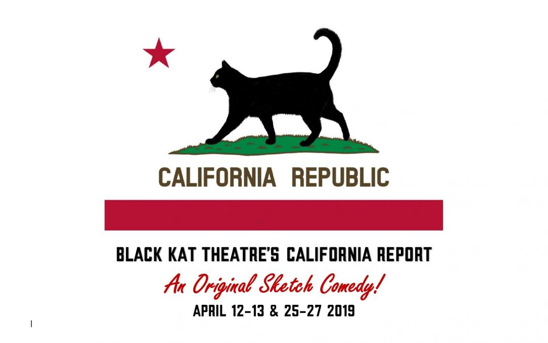 California flag parody with black cat instead of bear, with show dates